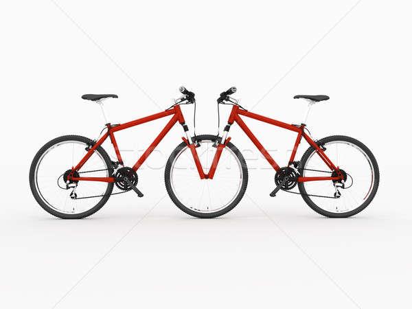 Fiets Rood fiets leegte geïsoleerd witte Stockfoto © anyunoff