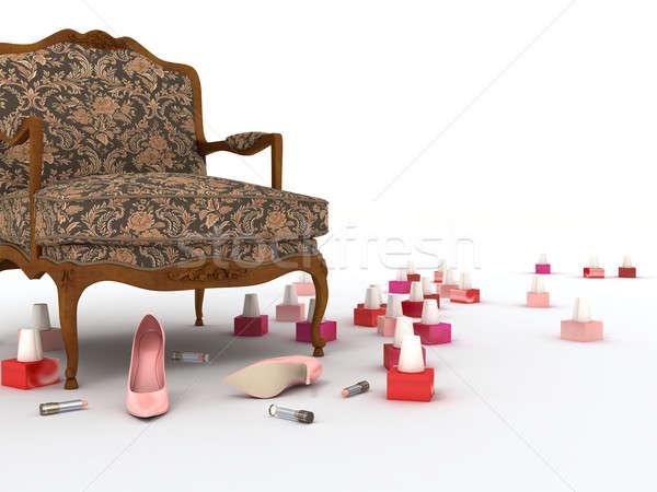 Fauteuil roze schoenen kleur lippenstift vernis Stockfoto © anyunoff