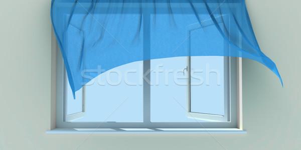 Finestra sipario blu cielo home Foto d'archivio © anyunoff