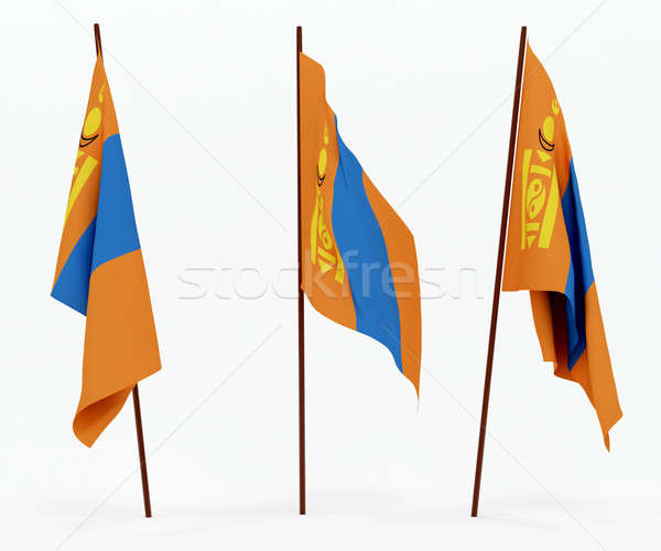 Bandera Mongolia blanco cultura objetos banner Foto stock © anyunoff