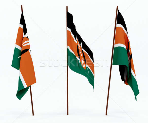 Zászló Kenya fehér kultúra tárgyak szalag Stock fotó © anyunoff