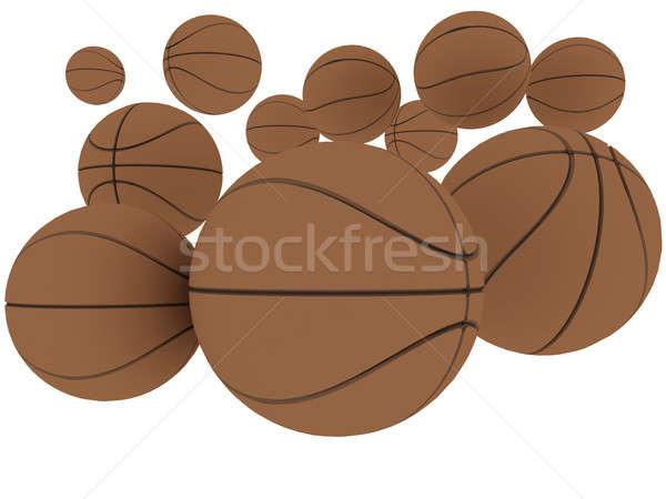 Baloncesto grupo naranja jugando pelota aislado Foto stock © anyunoff