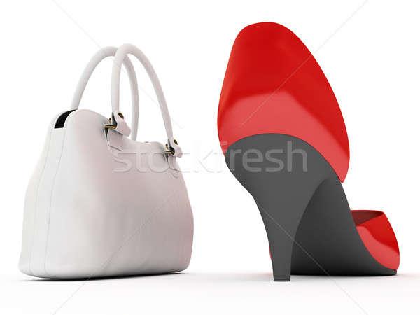 Zapatos bolso rojo blanco piernas tienda Foto stock © anyunoff