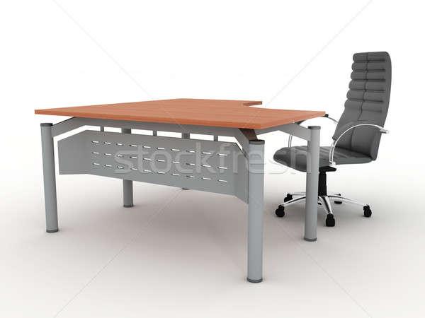 Işyeri ofis yalıtılmış beyaz tablo sandalye Stok fotoğraf © anyunoff