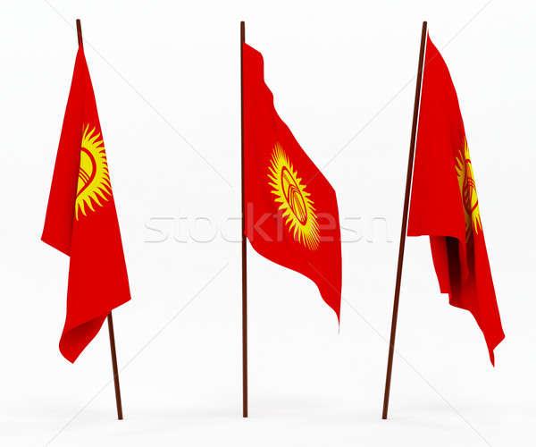 Bayrak Kırgızistan beyaz kültür nesneler afiş Stok fotoğraf © anyunoff