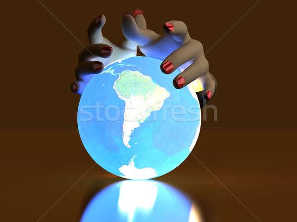 Kéz földgömb fényes labda térkép Föld Stock fotó © anyunoff