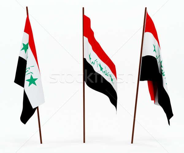 Bandeira Iraque branco cultura objetos bandeira Foto stock © anyunoff