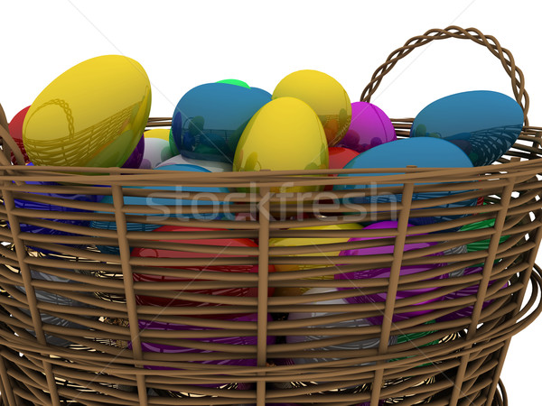 Cesta dorado huevos brillante aislado Foto stock © anyunoff