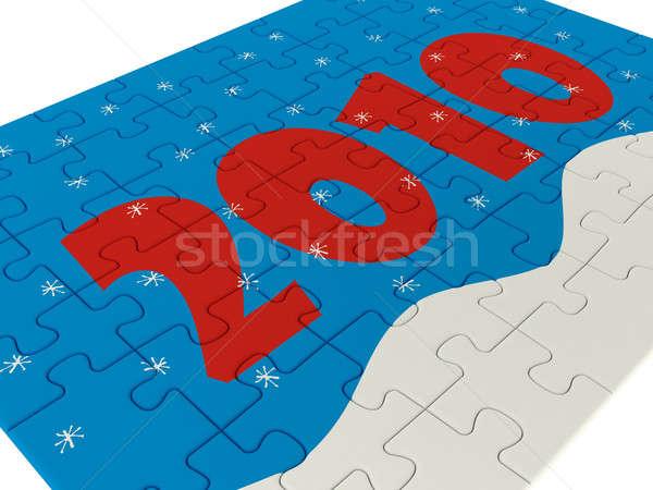 Nieuwe jaren puzzel 3d render achtergrond patroon Stockfoto © anyunoff