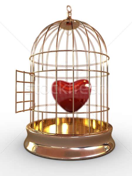 красный сердце клетке один изолированный Сток-фото © anyunoff
