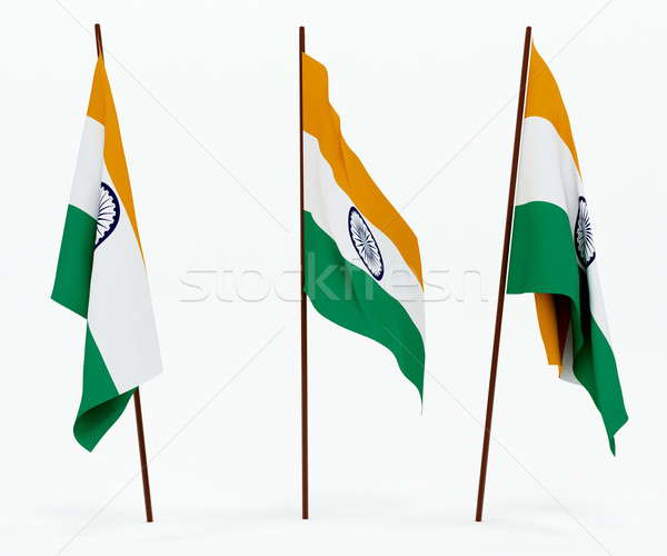 Bayrak Hindistan beyaz kültür nesneler afiş Stok fotoğraf © anyunoff