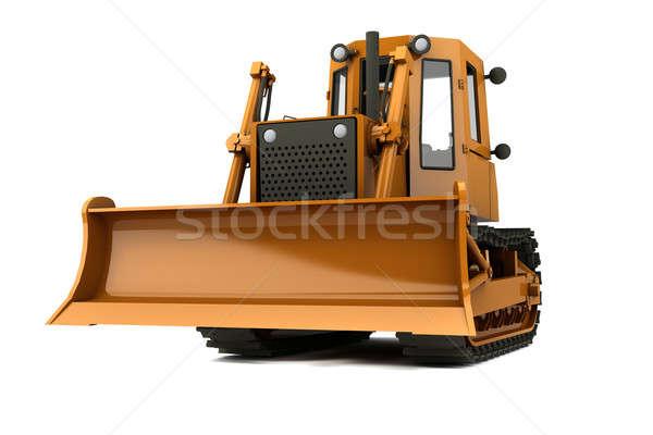 Buldózer narancs koszos izolált mobil munkás Stock fotó © anyunoff