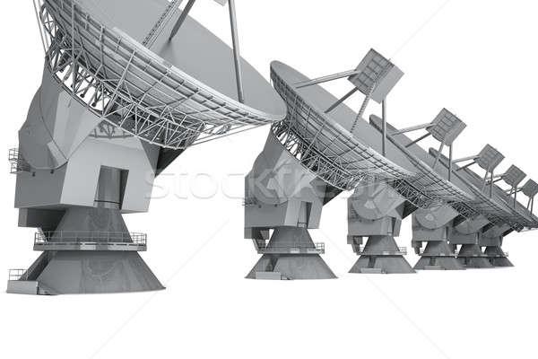 Radar satelliet schotel geïsoleerd witte 3d render Stockfoto © anyunoff