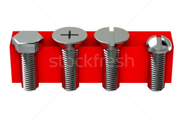 Rosso dettaglio costruzione gruppo acciaio strumento Foto d'archivio © anyunoff