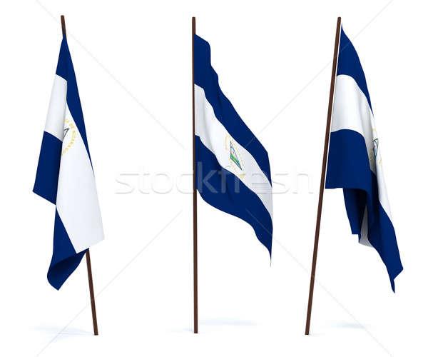 Bayrak Nikaragua beyaz kültür nesneler afiş Stok fotoğraf © anyunoff