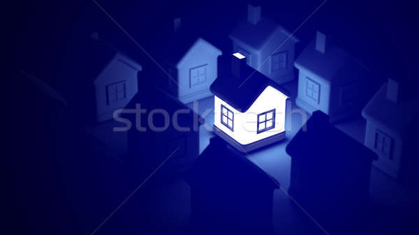 Glowing home on blue background, idea concept. 3d rendering of a lot of houses. Stock photo © AptTone