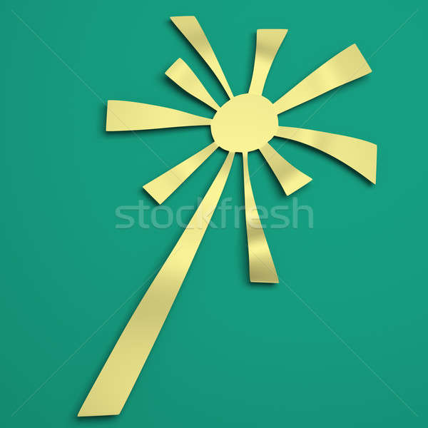 Sun rays with white and green retro color. 3D illustration Stock photo © AptTone