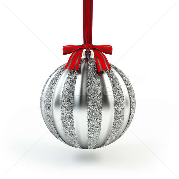 Silver Christmas tree toy with ribbon. Silver ball. Christmas and New Year decoration. Stock photo © AptTone