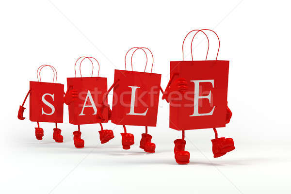 Sale shopping bags. Concept of discount. Cube characters paper in paper bags. Stock photo © AptTone