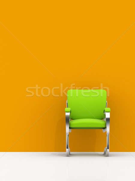 Stoel oranje muur groene business home Stockfoto © AptTone