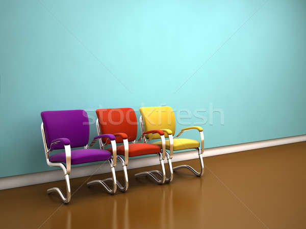 colorful chairs near blue wall Stock photo © AptTone