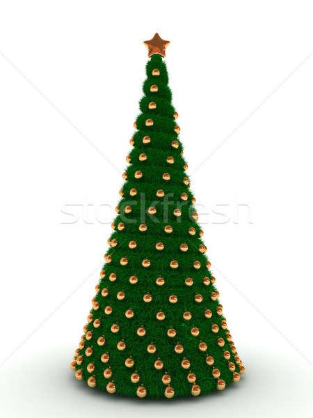 Kerstboom geïsoleerd witte boom bal star Stockfoto © AptTone