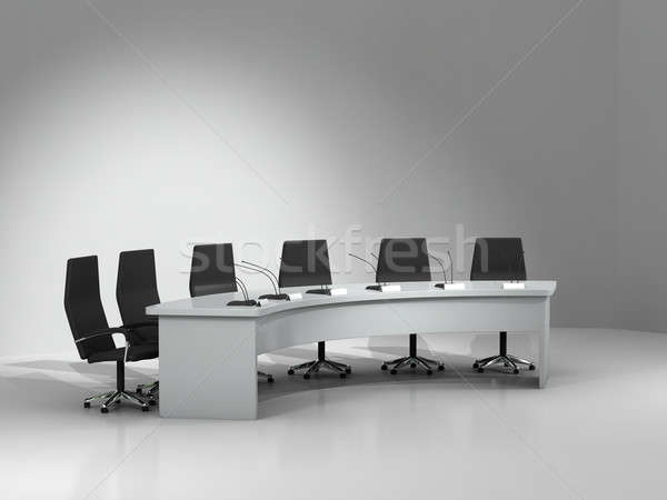 Stock photo: conference table and chairs with microphones