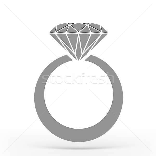 Diamond ring Icon JPEG. 3D rendering. Stock photo © AptTone