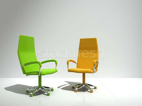 Photo stock: Deux · chaises · mur · affaires · maison · chambre