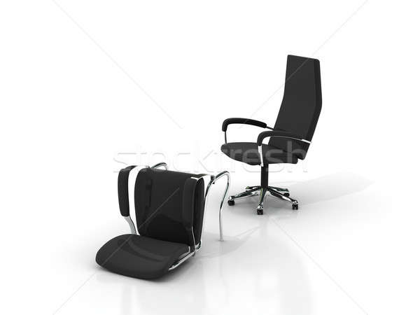 Affaires deux chaises stand couché isolé Photo stock © AptTone