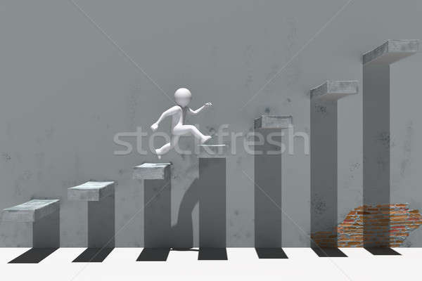 3d people character running up on stairs. Stock photo © AptTone