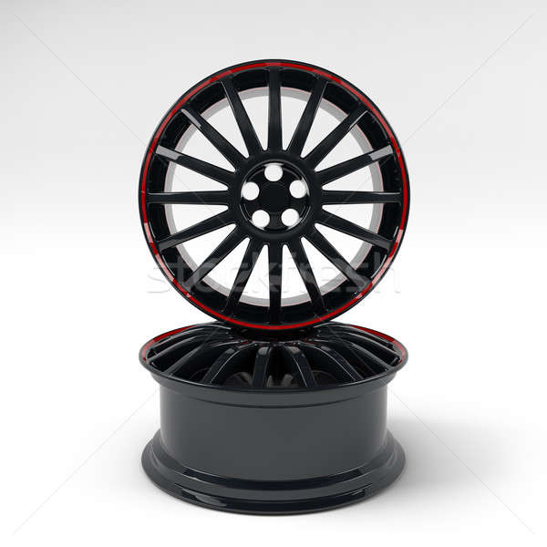 Aluminum black wheel image 3D high quality rendering. Picture figured alloy rim for car. Best used f Stock photo © AptTone
