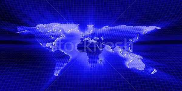 Carte du monde bleu affaires résumé lumière monde Photo stock © AptTone