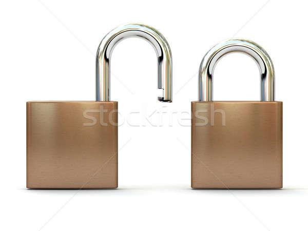 Geïsoleerd witte twee Open gesloten posities Stockfoto © AptTone