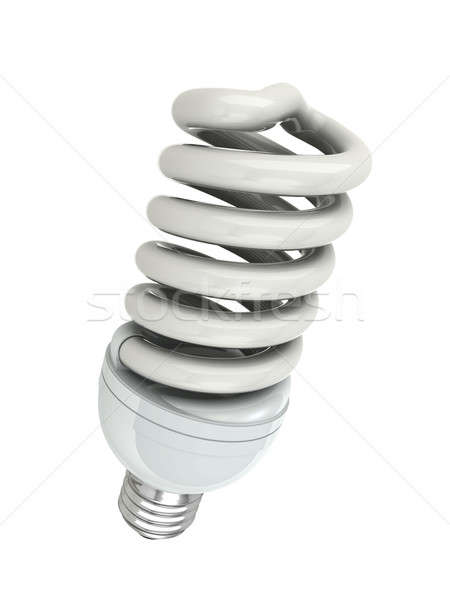 Bulbo energia fluorescente isolado branco Foto stock © AptTone