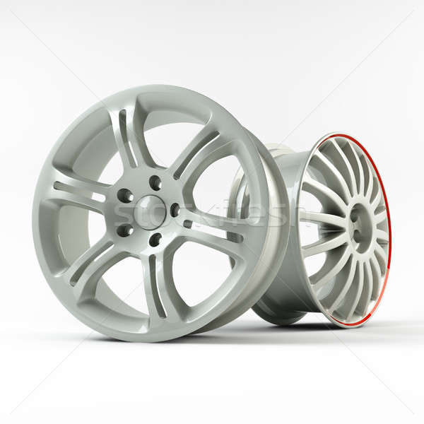 Aluminum white wheel image 3D high quality rendering. Stock photo © AptTone