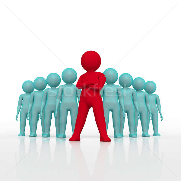 Small person the leader of a team allocated with red colour. 3d rendering. Isolated white background Stock photo © AptTone