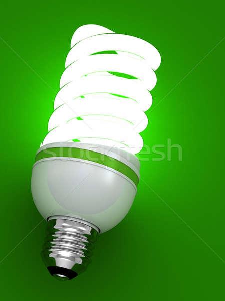 Stock fotó: Villanykörte · energia · takarékosság · fluoreszkáló · izolált · zöld