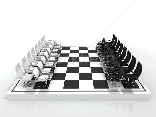 Stoelen schaakbord geïsoleerd witte sport achtergrond Stockfoto © AptTone