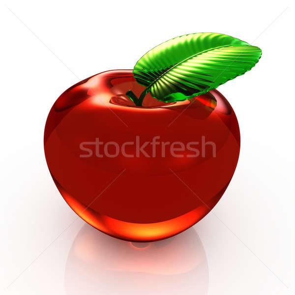 3D rode appel geïsoleerd witte computer Rood Stockfoto © AptTone