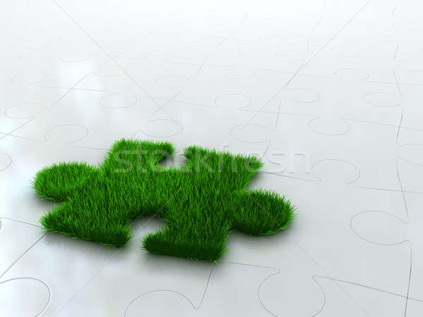 jigsaw puzzle with green grass Stock photo © AptTone