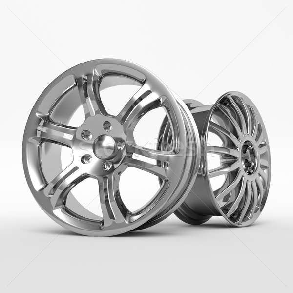 Aluminum wheel image 3D high quality rendering. White picture figured alloy rim for car. Stock photo © AptTone