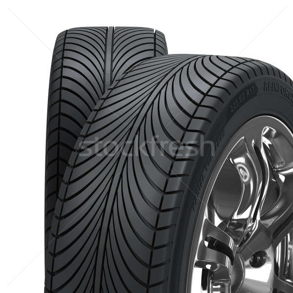 Roue pneus isolé blanche élevé qualité Photo stock © AptTone