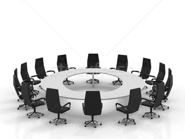 Photo stock: Conférence · table · chaises · isolé · blanche · bureau