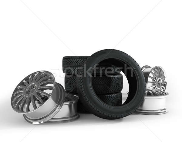 Tires and wheels on the white background. Stock photo © AptTone