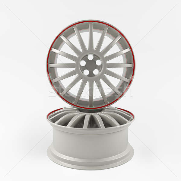 Aluminum white wheel image 3D high quality rendering. Picture figured alloy rim for car. Stock photo © AptTone