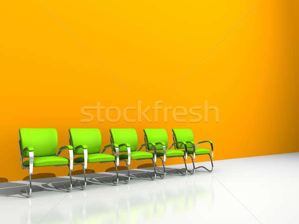 Chaises orange mur cinquième vert affaires Photo stock © AptTone