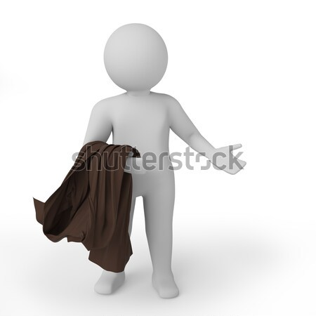 3d white person embarrassed. Isolated white background. 3D rendering. Stock photo © AptTone
