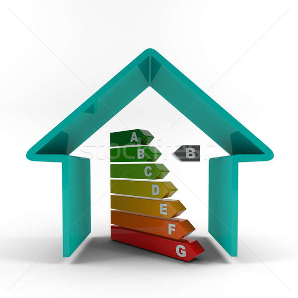 Blue house outline with energy efficiency rating. Stock photo © AptTone