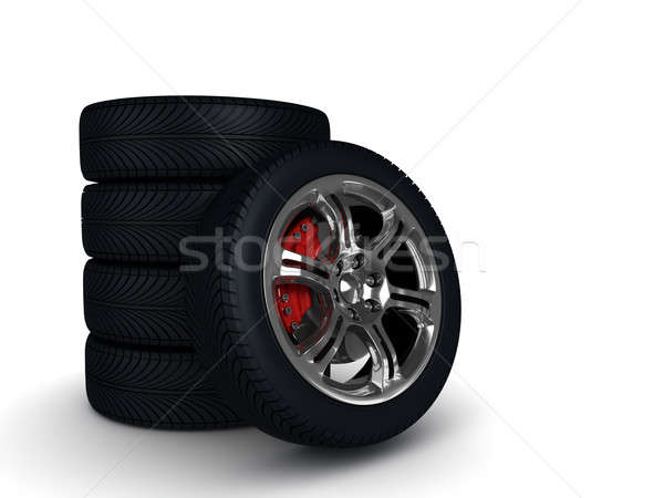 wheels with steel rims over the white background Stock photo © AptTone